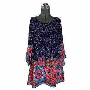 Kori Red Blue Paisley Boho Swing Trapeze Dress